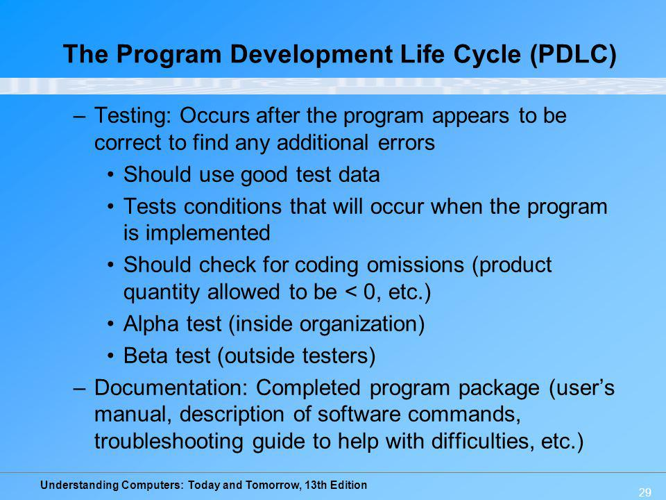 The Program Development Life Cycle (PDLC)