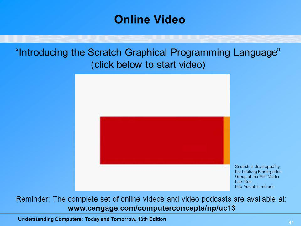 Online Video Introducing the Scratch Graphical Programming Language