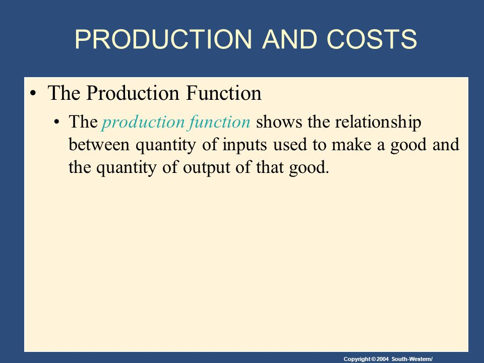 PRODUCTION AND COSTS The Production Function