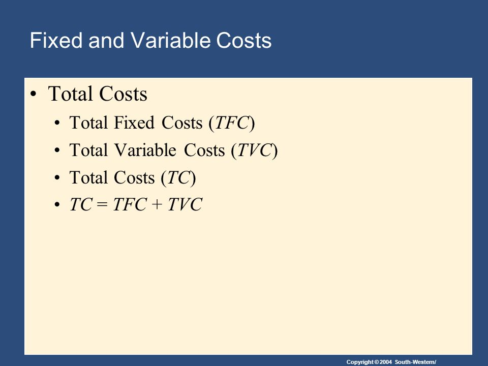 Fixed and Variable Costs