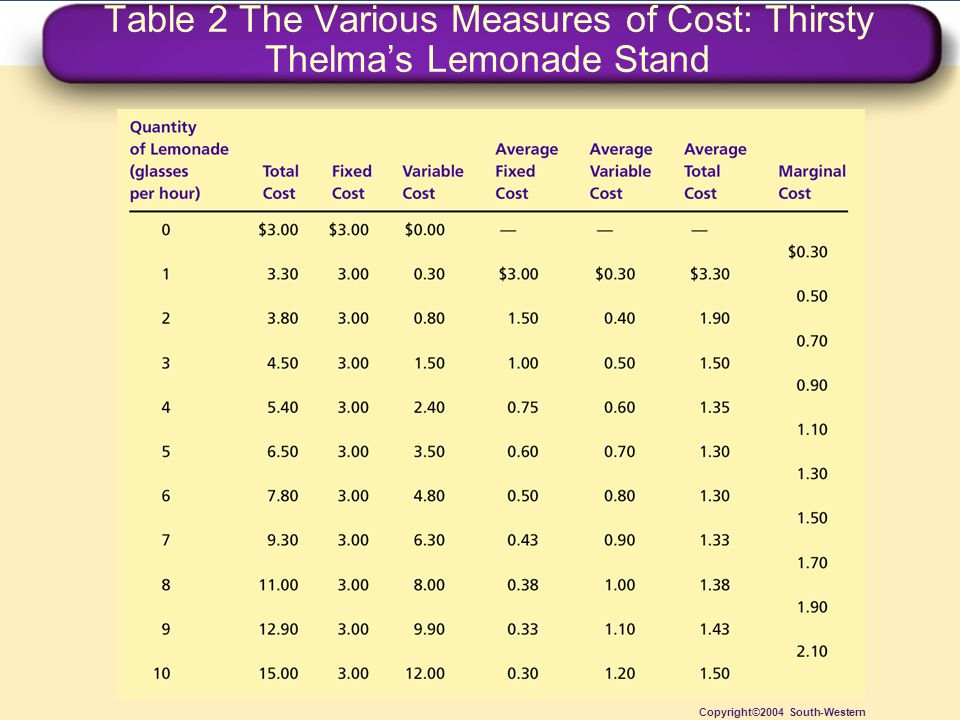 Table 2 The Various Measures of Cost: Thirsty Thelma's Lemonade Stand