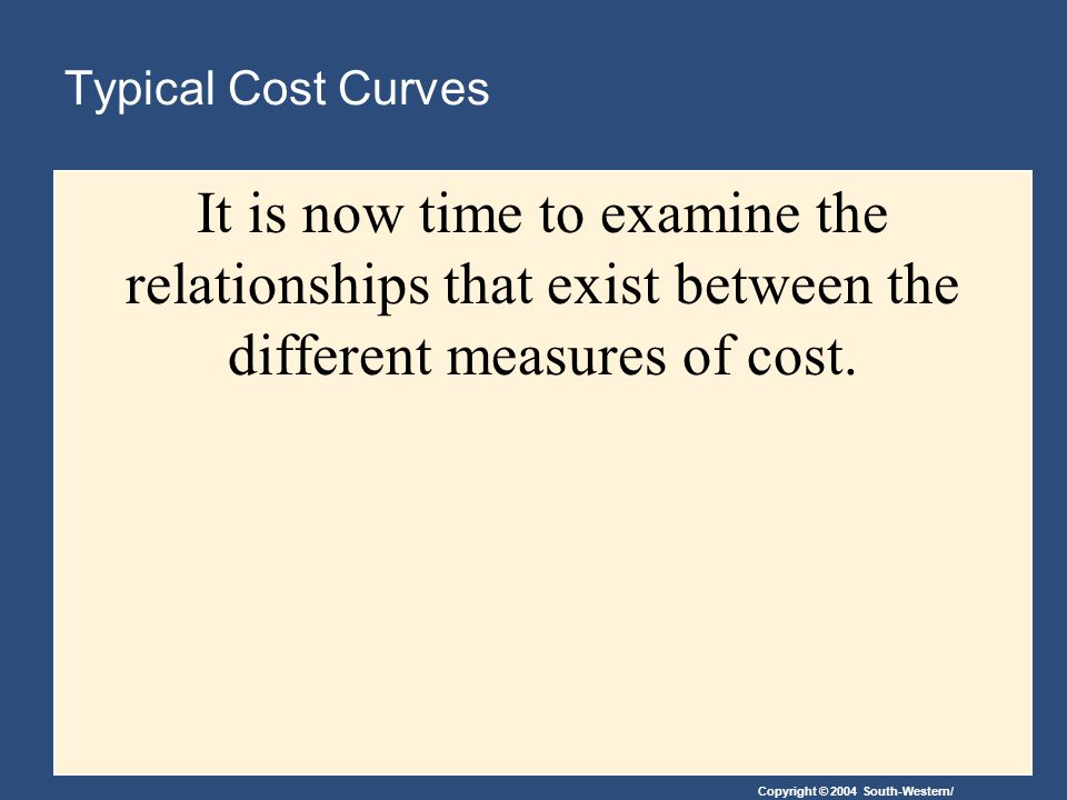Typical Cost Curves It is now time to examine the relationships that exist between the different measures of cost.
