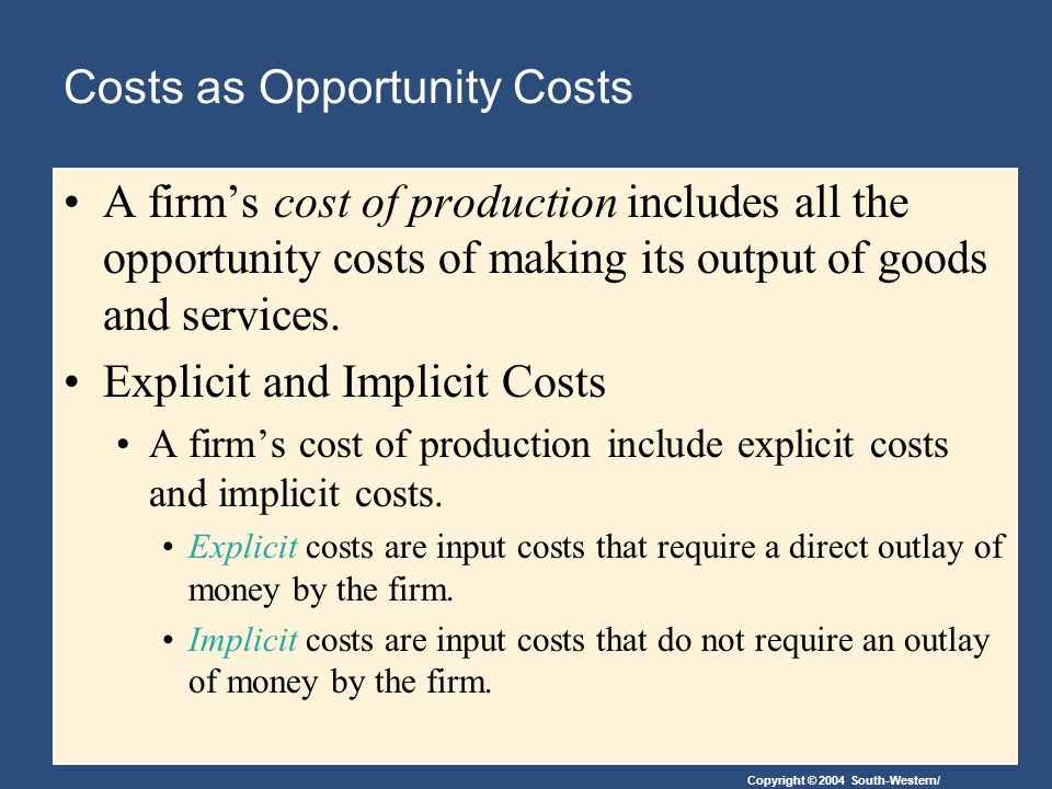 Costs as Opportunity Costs