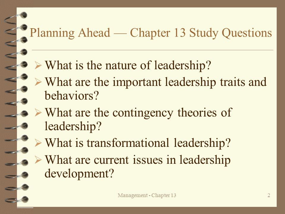 Planning Ahead — Chapter 13 Study Questions
