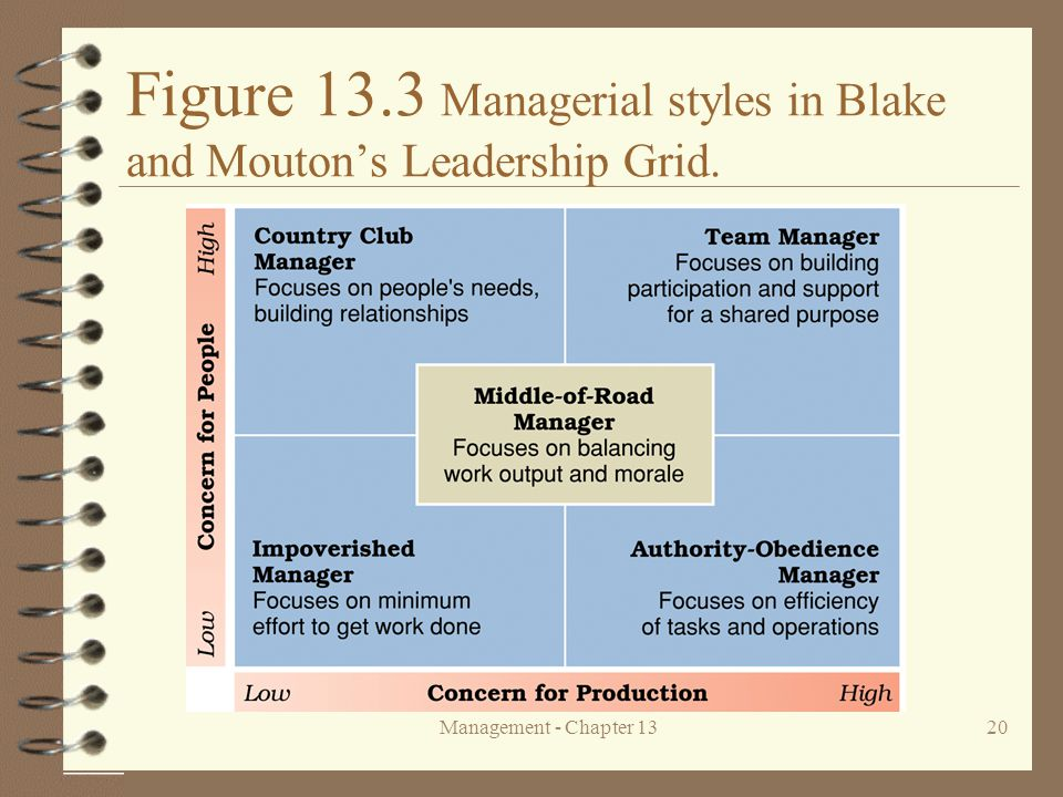 Figure 13.3 Managerial styles in Blake and Mouton's Leadership Grid.