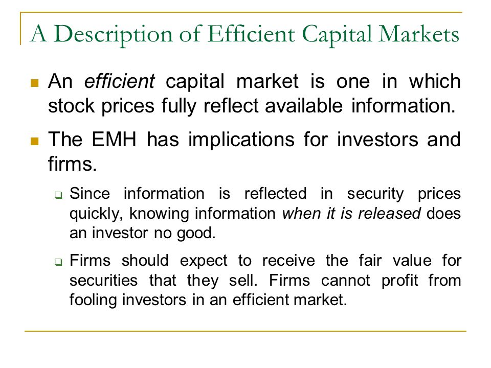 A Description of Efficient Capital Markets