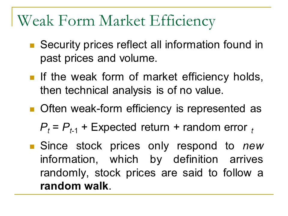 Weak Form Market Efficiency