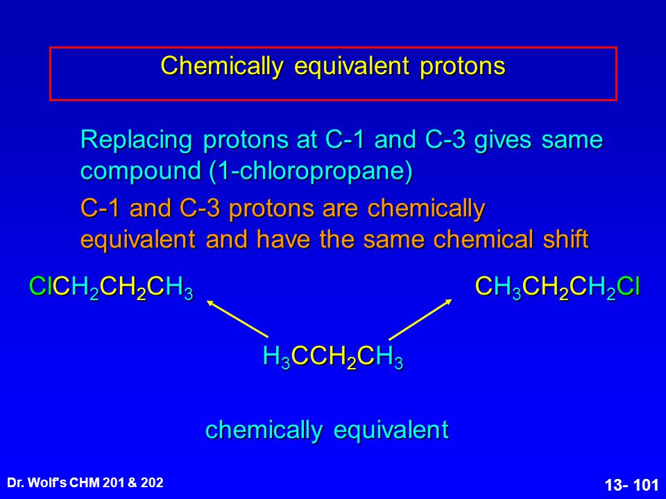 Chemically equivalent protons