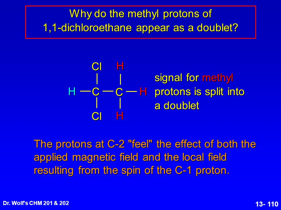 Why do the methyl protons of 1,1-dichloroethane appear as a doublet