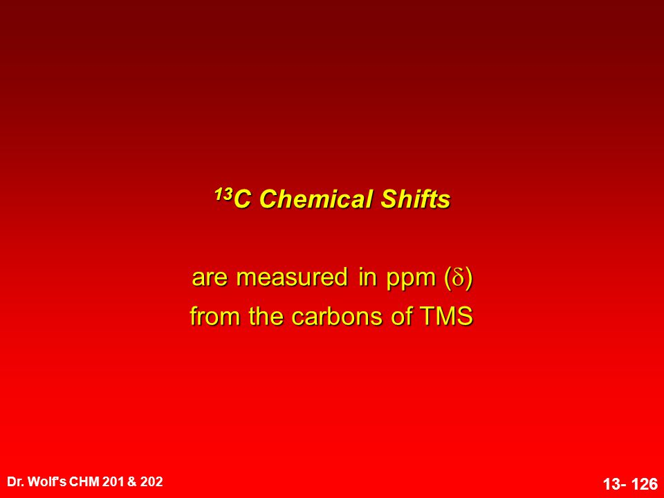 are measured in ppm () from the carbons of TMS