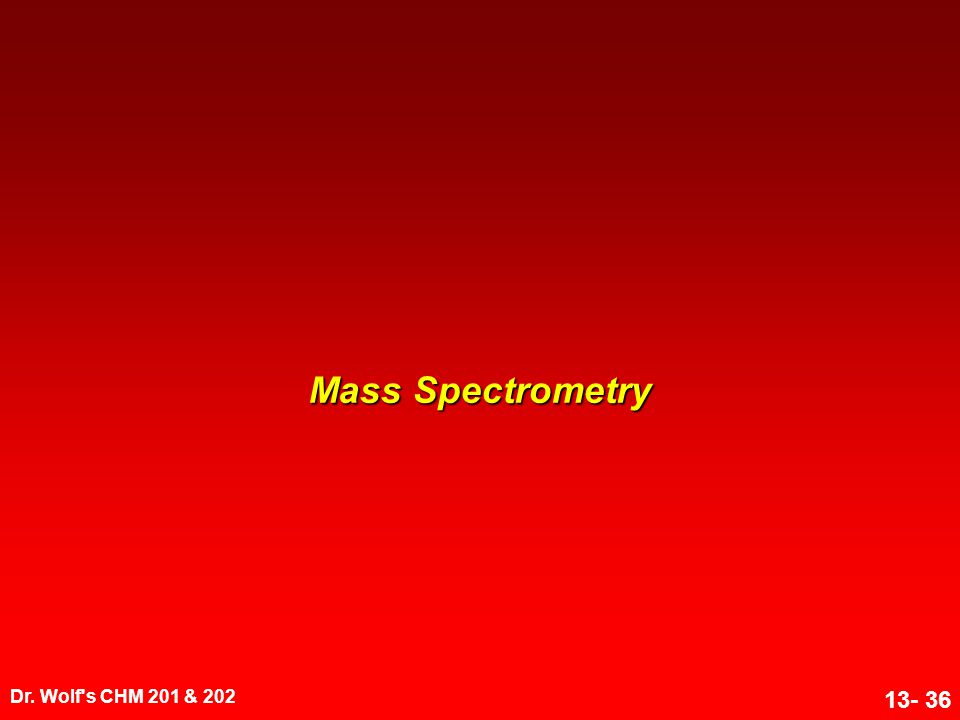 Mass Spectrometry Dr. Wolf s CHM 201 & 202 1
