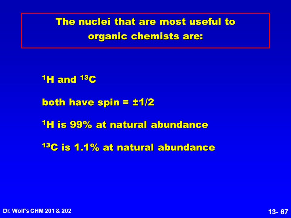 The nuclei that are most useful to organic chemists are: