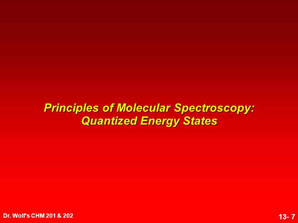 Principles of Molecular Spectroscopy: Quantized Energy States
