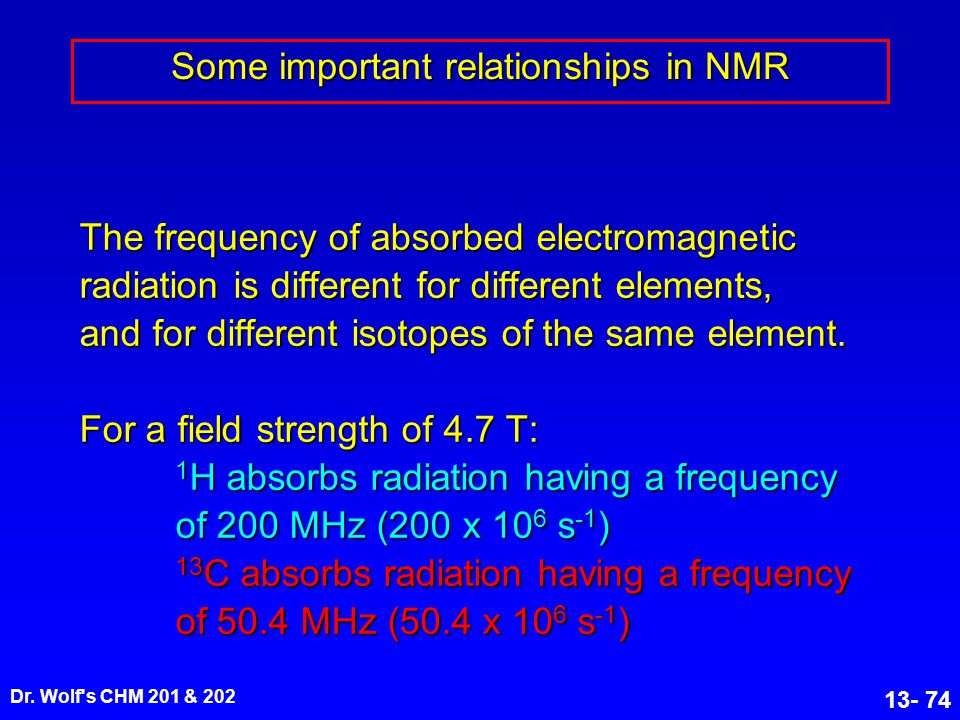Some important relationships in NMR