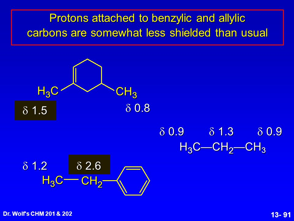 Protons attached to benzylic and allylic carbons are somewhat less shielded than usual
