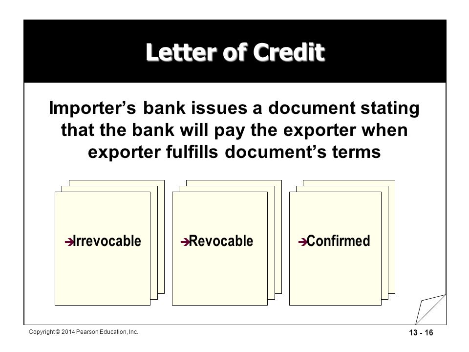 Letter of Credit Importer's bank issues a document stating that the bank will pay the exporter when exporter fulfills document's terms.