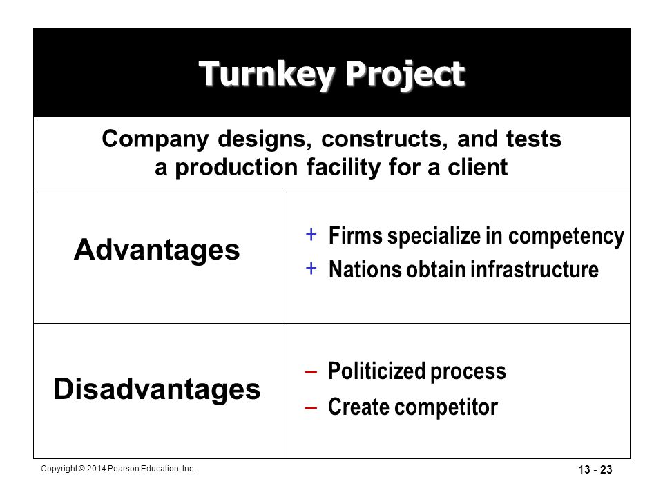 Turnkey Project Advantages Disadvantages