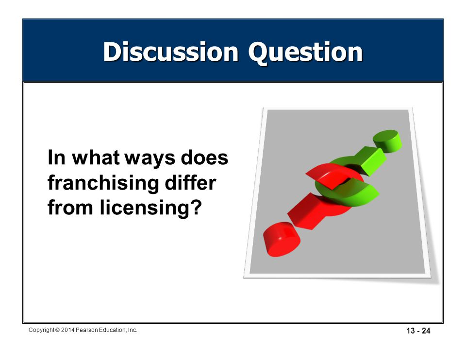 Discussion Question In what ways does franchising differ from licensing In what ways does franchising differ from licensing