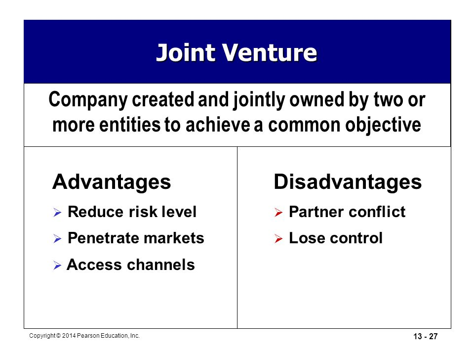 Joint Venture Company created and jointly owned by two or more entities to achieve a common objective.
