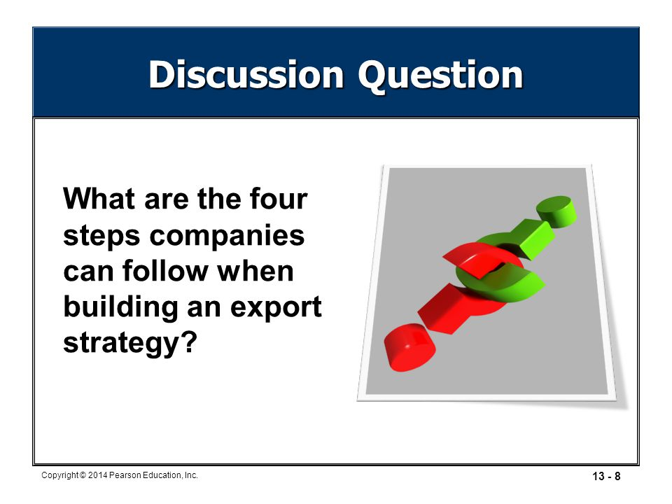 Discussion Question What are the four steps companies can follow when building an export strategy
