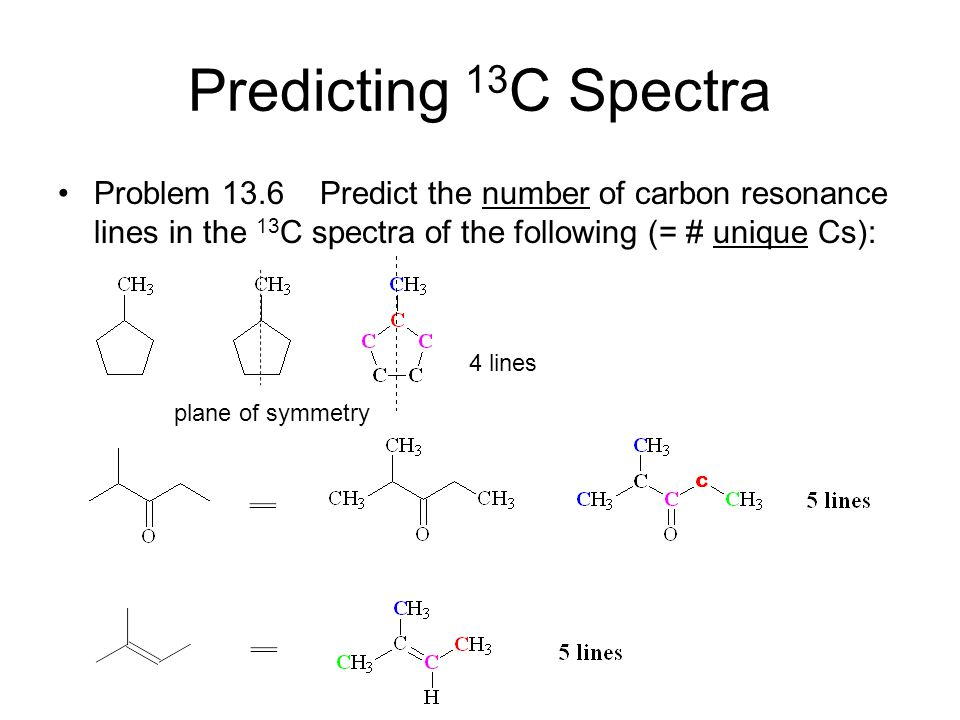 Predicting 13C Spectra Problem 13.6 Predict the number of carbon resonance lines in the 13C spectra of the following (= # unique Cs):