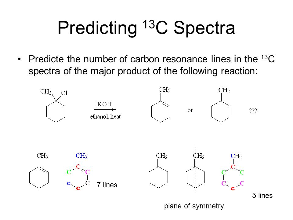 Predicting 13C Spectra Predicte the number of carbon resonance lines in the 13C spectra of the major product of the following reaction: