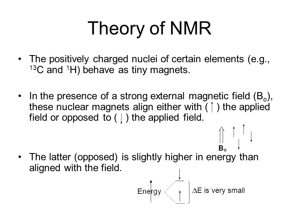 Theory of NMR The positively charged nuclei of certain elements (e.g., 13C and 1H) behave as tiny magnets.