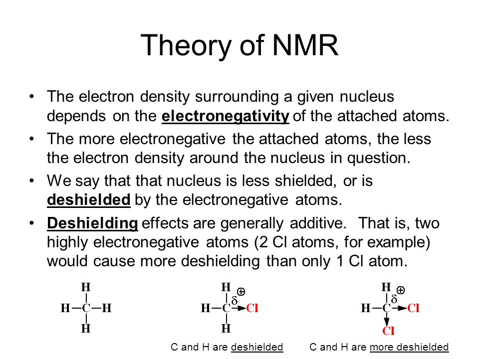 Theory of NMR The electron density surrounding a given nucleus depends on the electronegativity of the attached atoms.