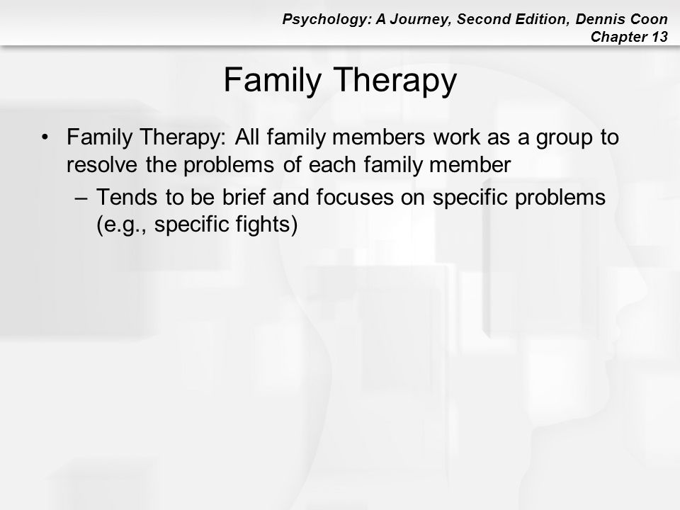 Family Therapy Family Therapy: All family members work as a group to resolve the problems of each family member.