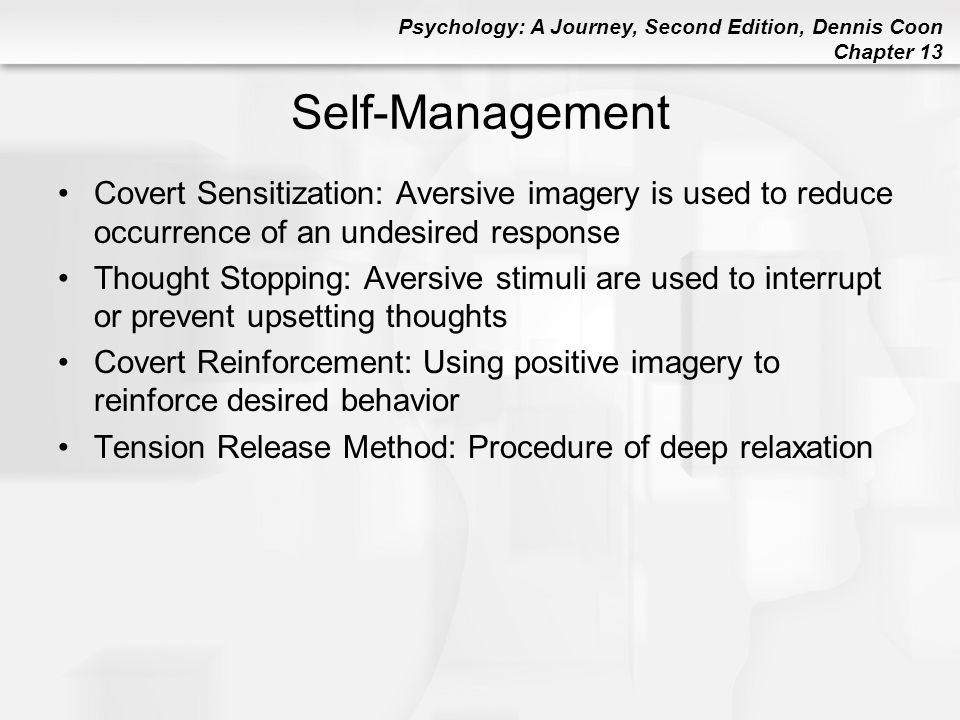 Self-Management Covert Sensitization: Aversive imagery is used to reduce occurrence of an undesired response.