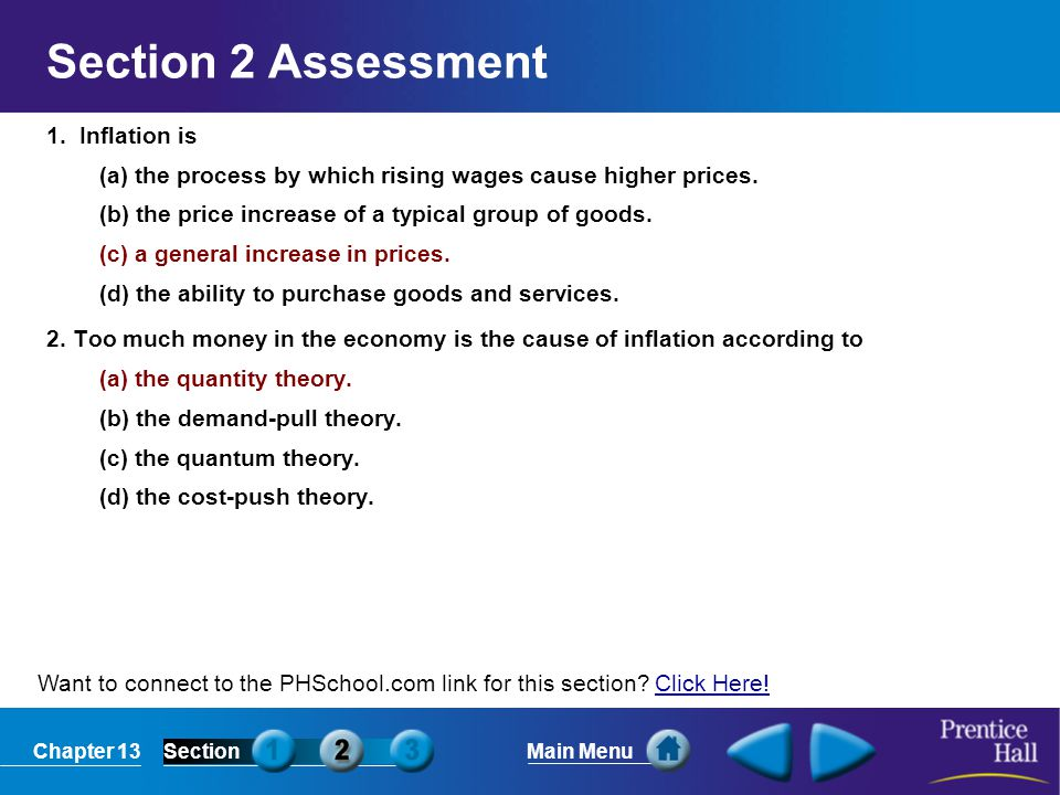 Section 2 Assessment 1. Inflation is