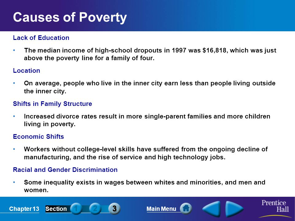 Causes of Poverty Lack of Education
