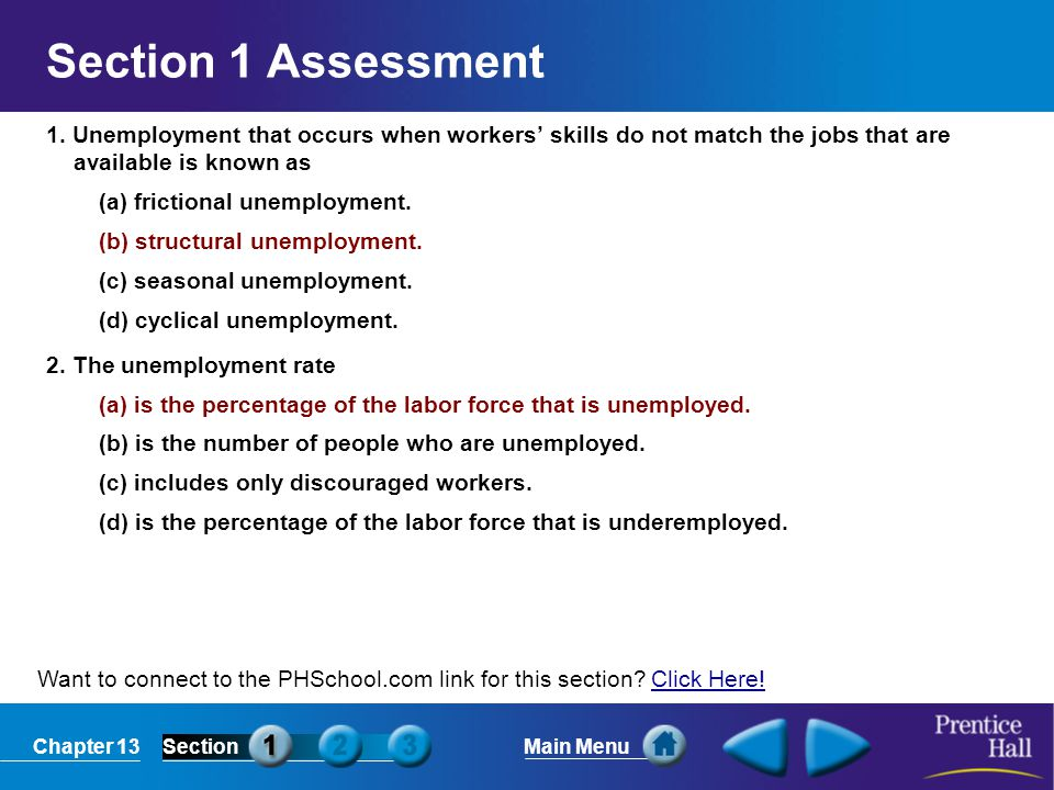 Section 1 Assessment 1. Unemployment that occurs when workers' skills do not match the jobs that are available is known as.