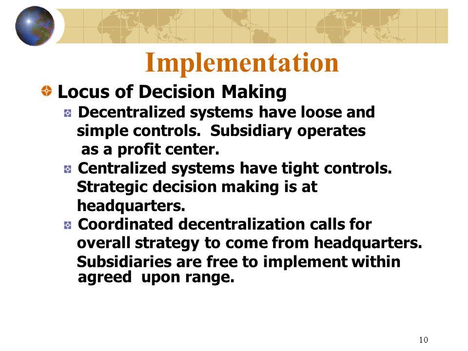 Implementation Locus of Decision Making