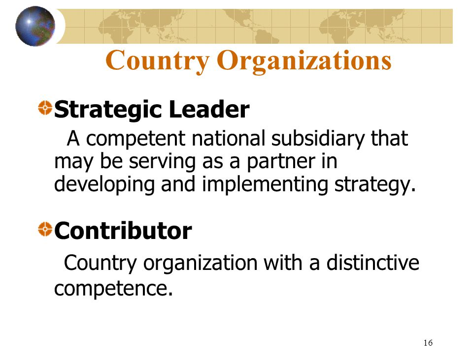 Country Organizations