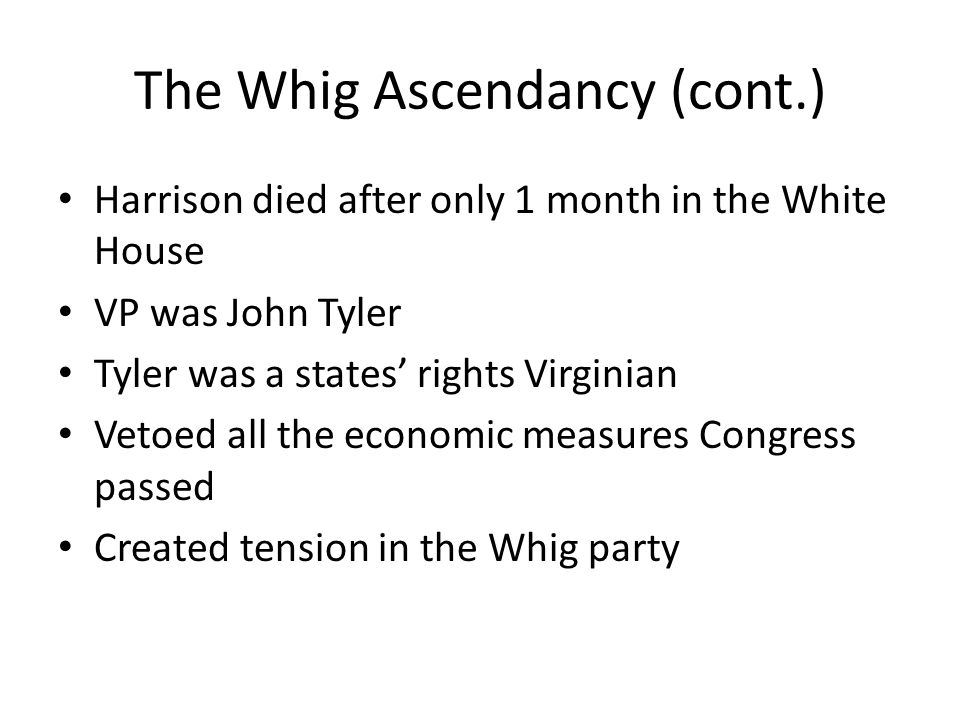 The Whig Ascendancy (cont.)