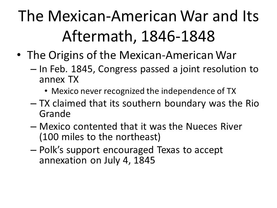 aftermath of the mexican war and The result of the mexican american war was the treaty of guadalupe hidalgo in 1848, which stated that mexico had to give up land to the united states, including texas.