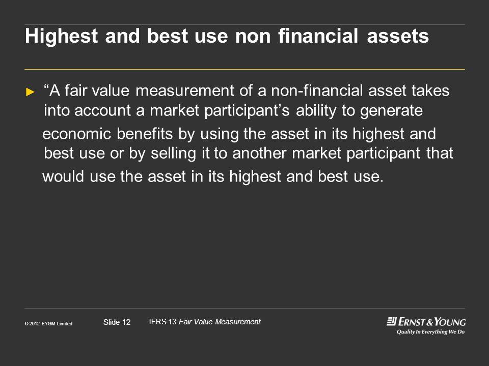 Highest and best use non financial assets