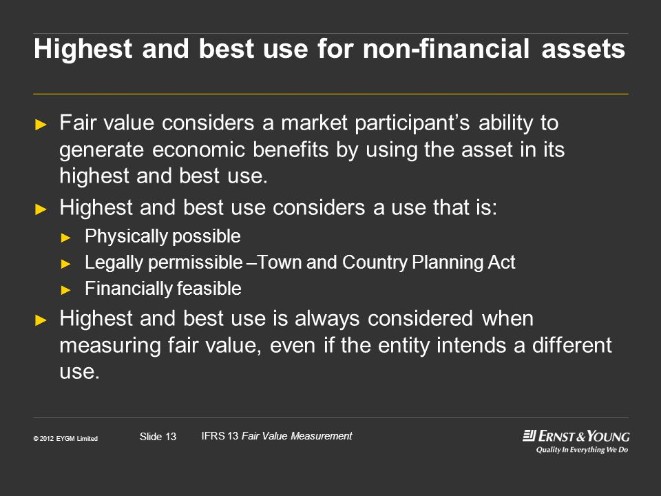 Highest and best use for non-financial assets
