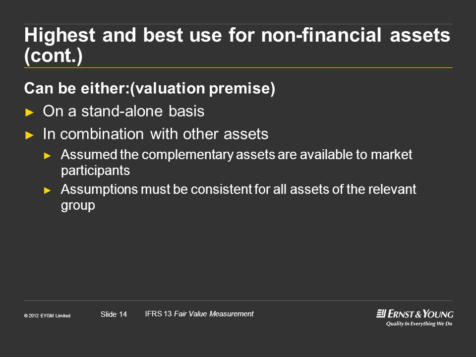 Highest and best use for non-financial assets (cont.)
