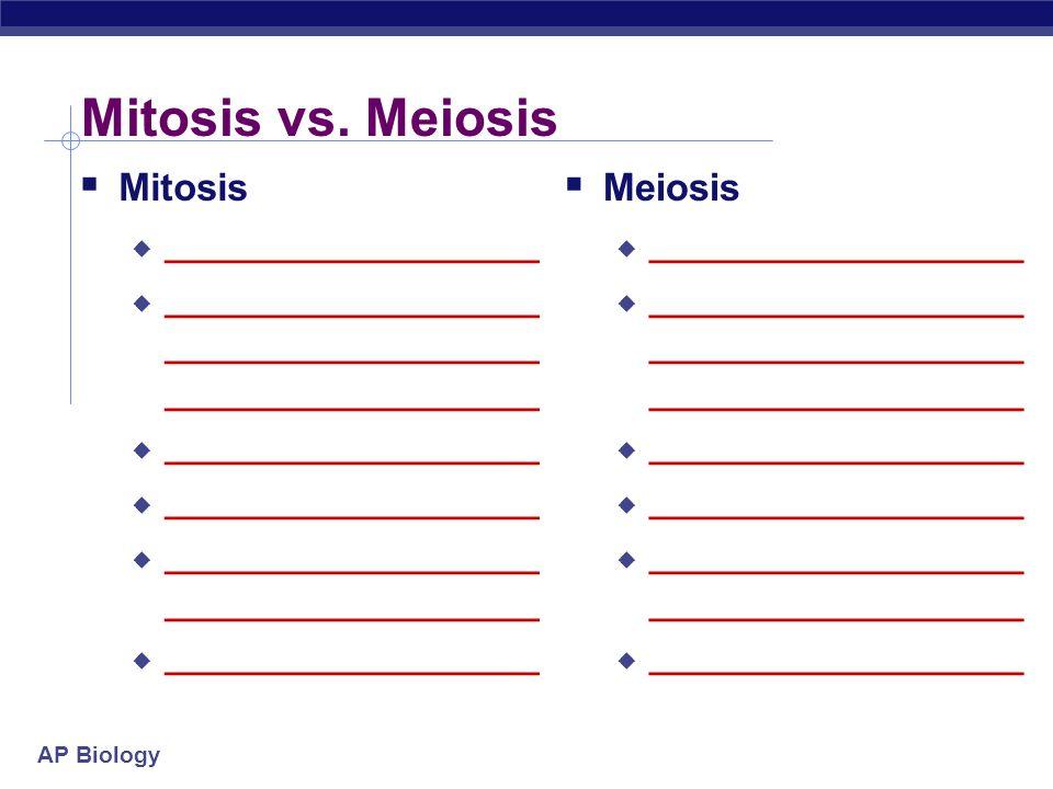 Mitosis vs. Meiosis Mitosis Meiosis ___________________