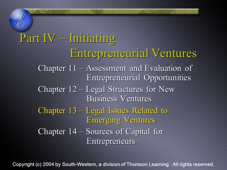 Part IV – Initiating Entrepreneurial Ventures