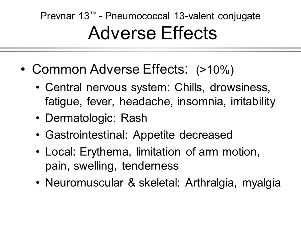 Prevnar 13™ - Pneumococcal 13-valent conjugate Adverse Effects