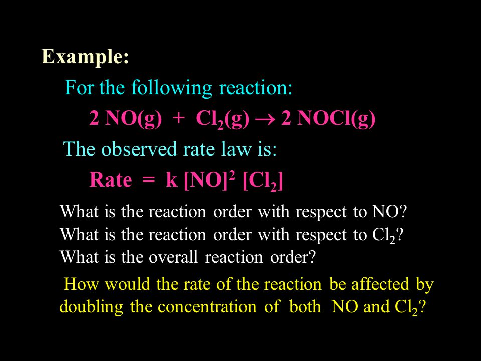 For the following reaction: 2 NO(g) + Cl2(g)  2 NOCl(g)