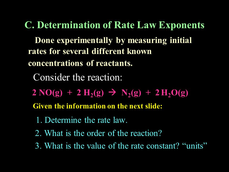 C. Determination of Rate Law Exponents