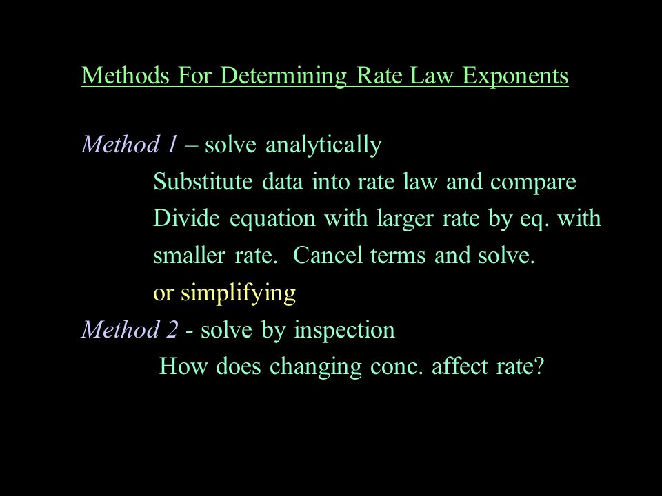 Methods For Determining Rate Law Exponents