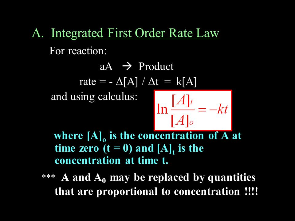 A. Integrated First Order Rate Law For reaction: