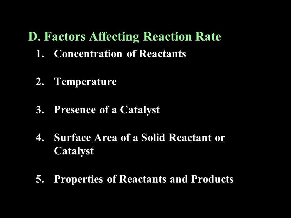 D. Factors Affecting Reaction Rate
