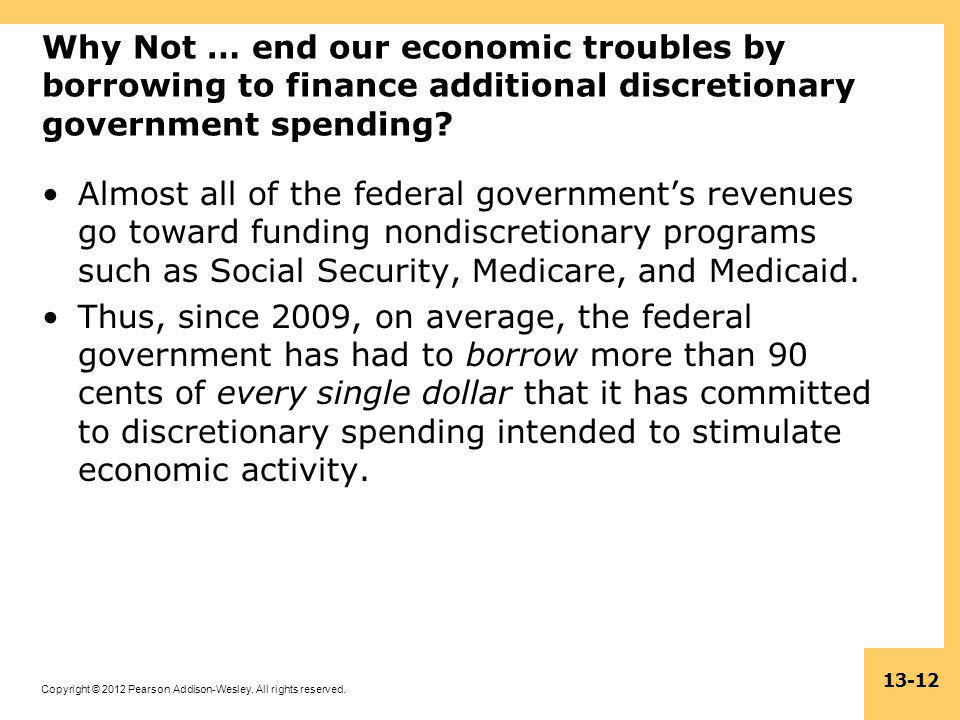 Why Not … end our economic troubles by borrowing to finance additional discretionary government spending