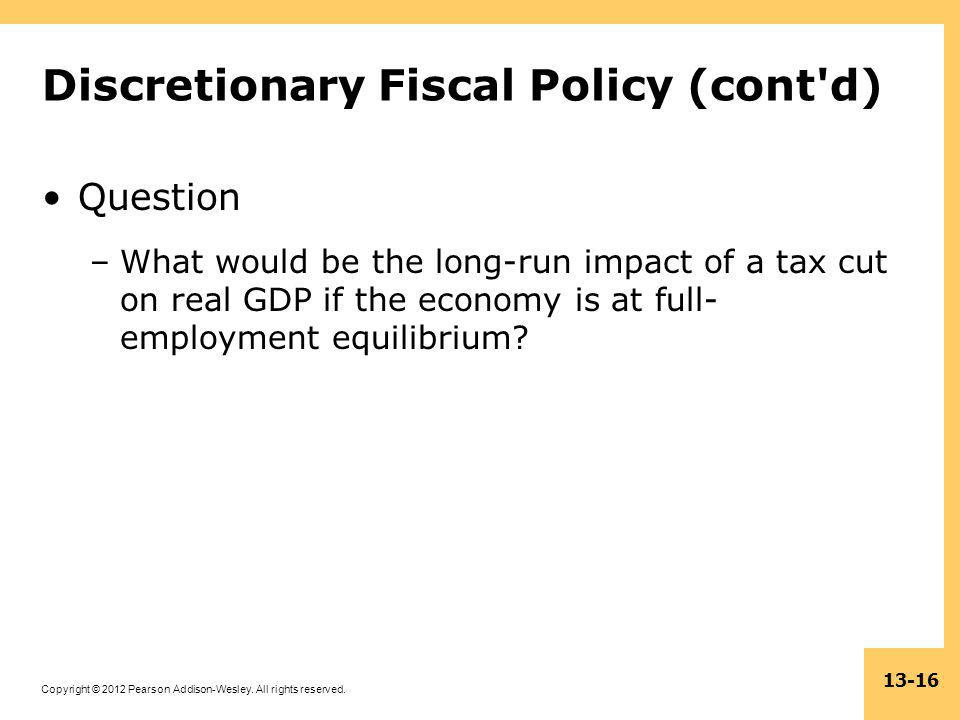 Discretionary Fiscal Policy (cont d)